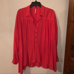 Free People Oversized Coral Long-sleeve Top